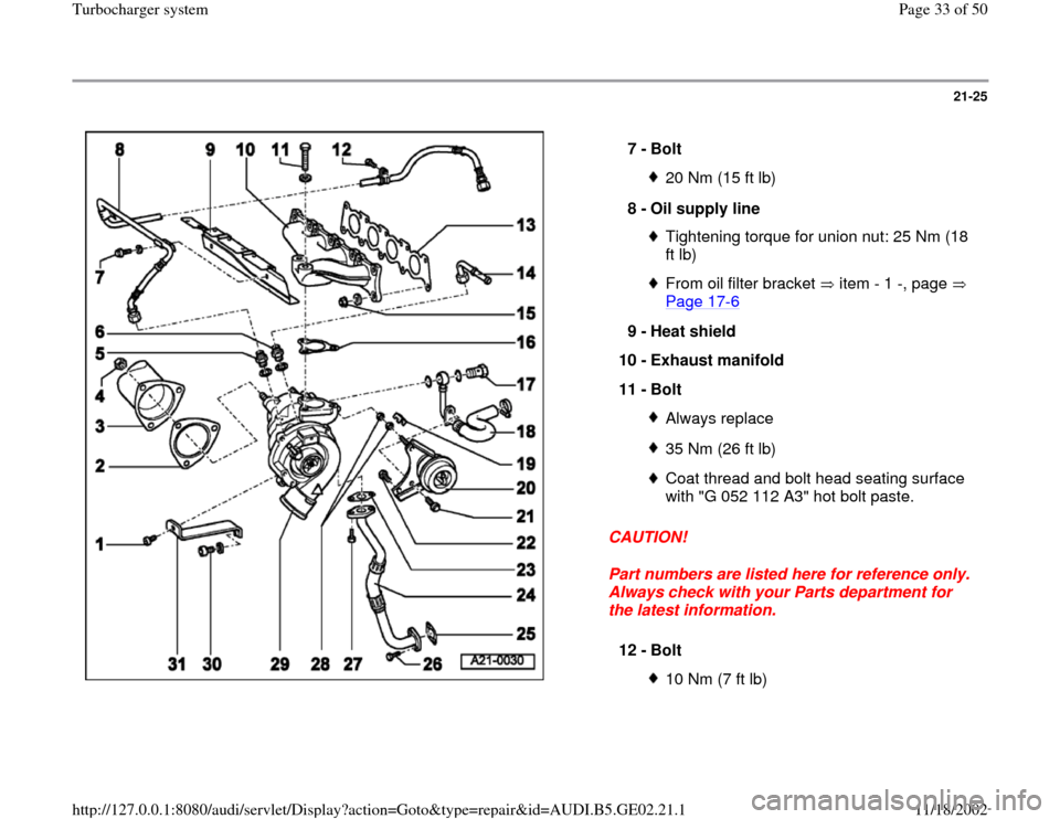 AUDI A4 1999 B5 / 1.G AEB ATW Engines Turbocharger System Workshop Manual, Page 33