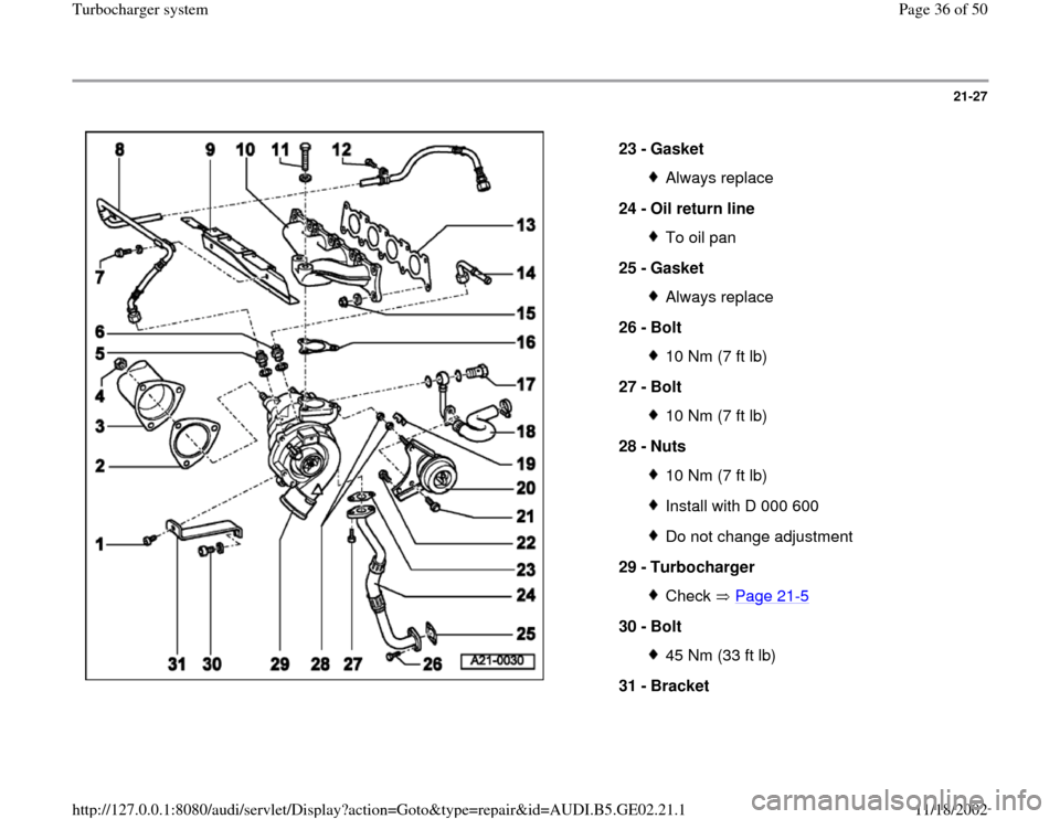 AUDI A4 1999 B5 / 1.G AEB ATW Engines Turbocharger System Workshop Manual, Page 36