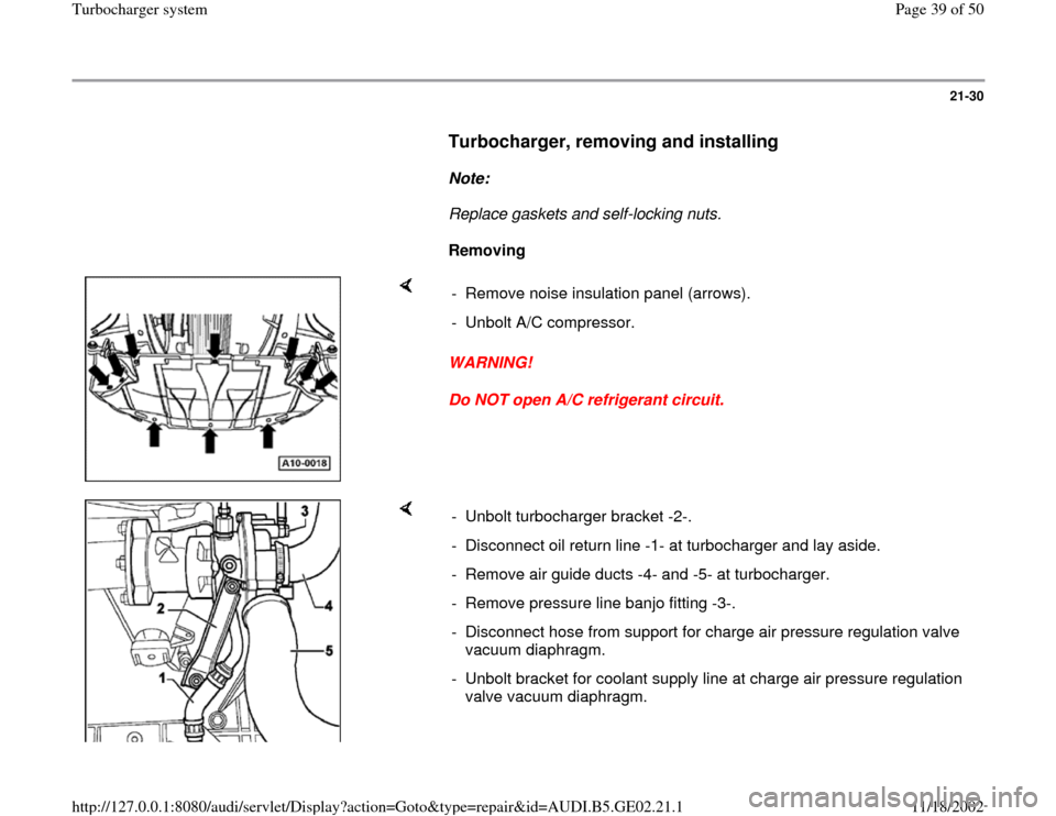 AUDI A4 1999 B5 / 1.G AEB ATW Engines Turbocharger System Workshop Manual, Page 39