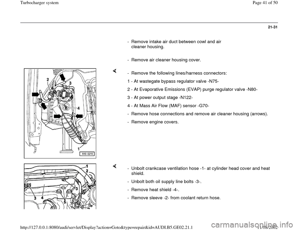 AUDI A4 2000 B5 / 1.G AEB ATW Engines Turbocharger System Workshop Manual, Page 41