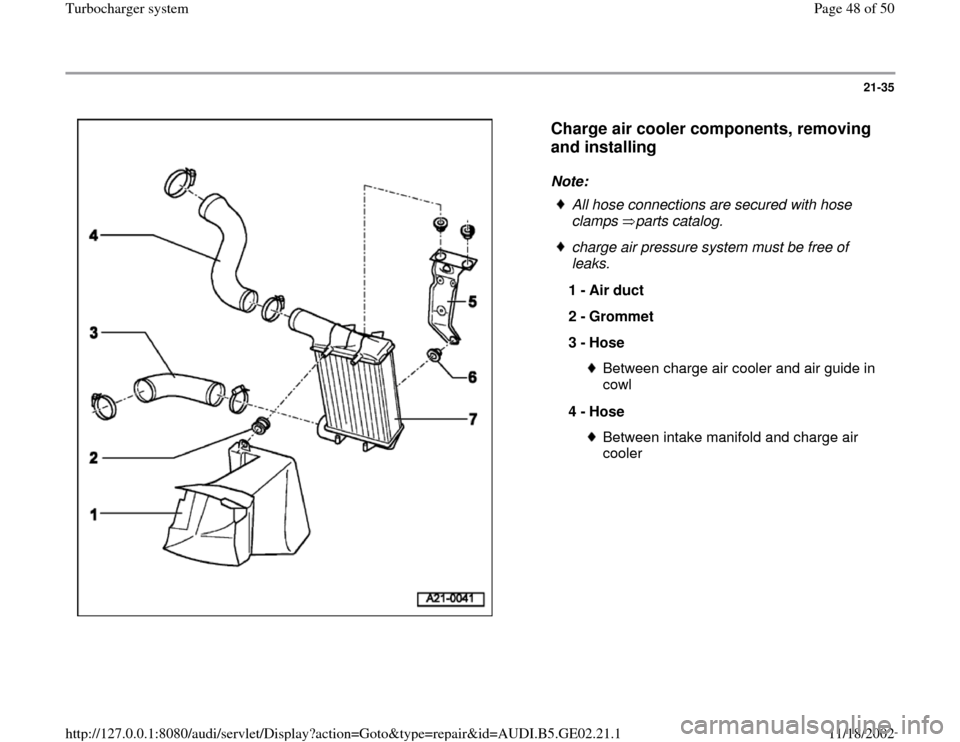 AUDI A4 2000 B5 / 1.G AEB ATW Engines Turbocharger System Workshop Manual, Page 48