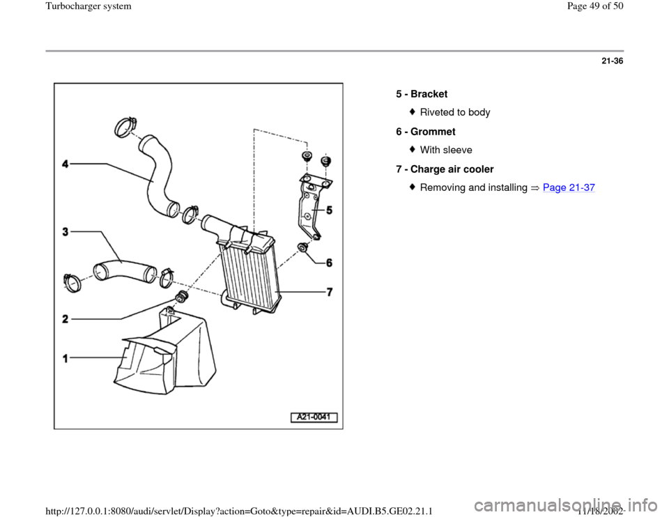 AUDI A4 2000 B5 / 1.G AEB ATW Engines Turbocharger System Workshop Manual, Page 49