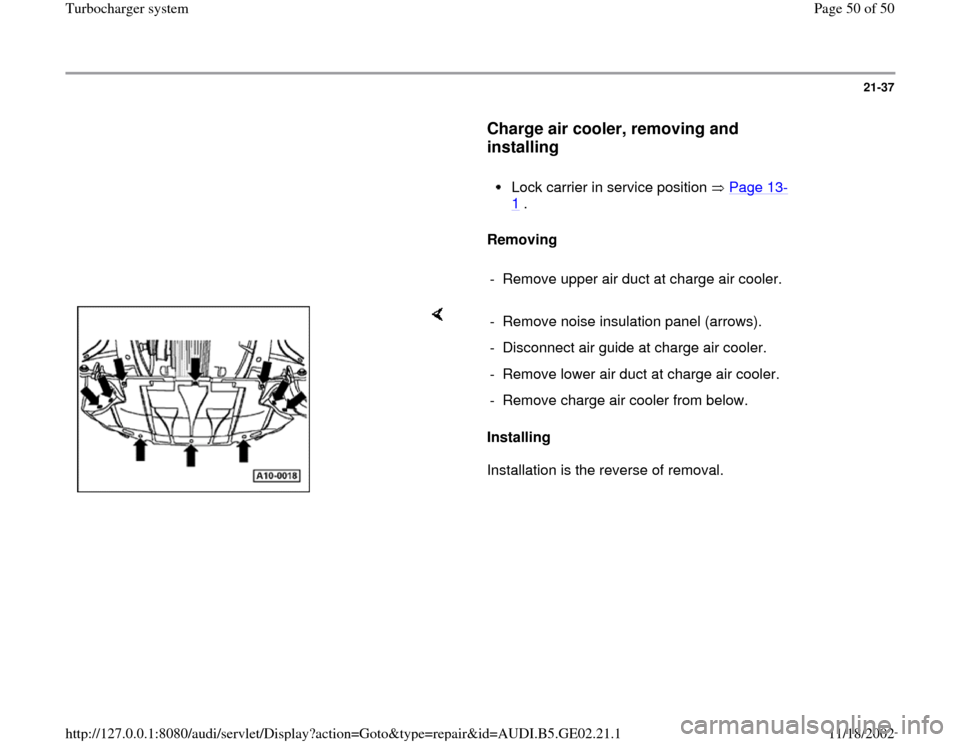 AUDI A3 2000 8L / 1.G AEB ATW Engines Turbocharger System Workshop Manual, Page 50