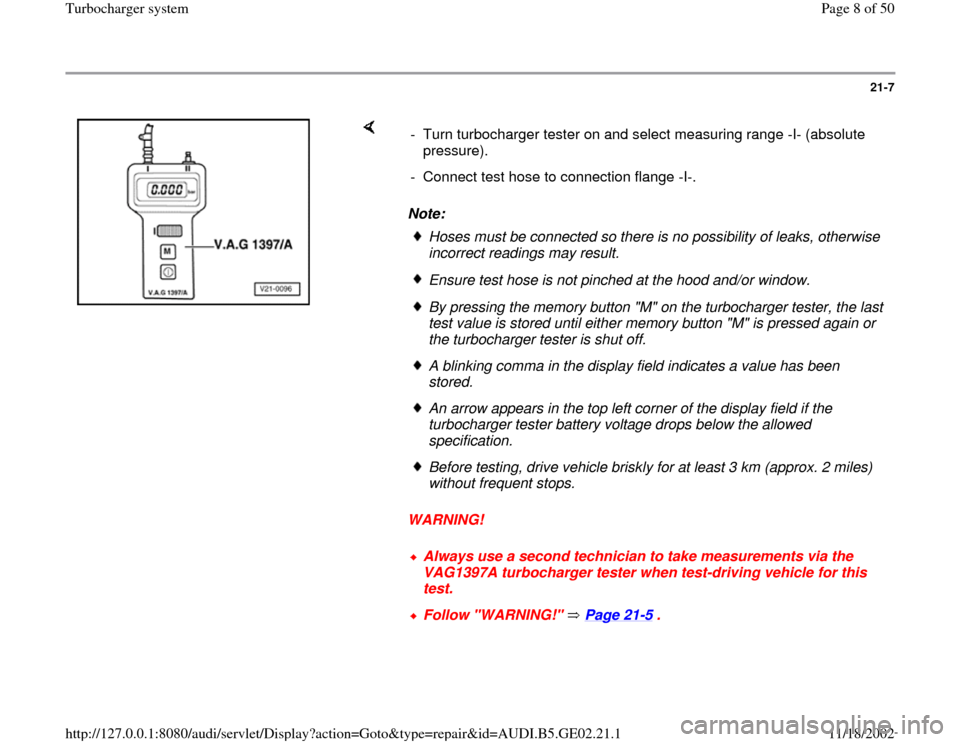 AUDI A4 1997 B5 / 1.G AEB ATW Engines Turbocharger System Workshop Manual, Page 8