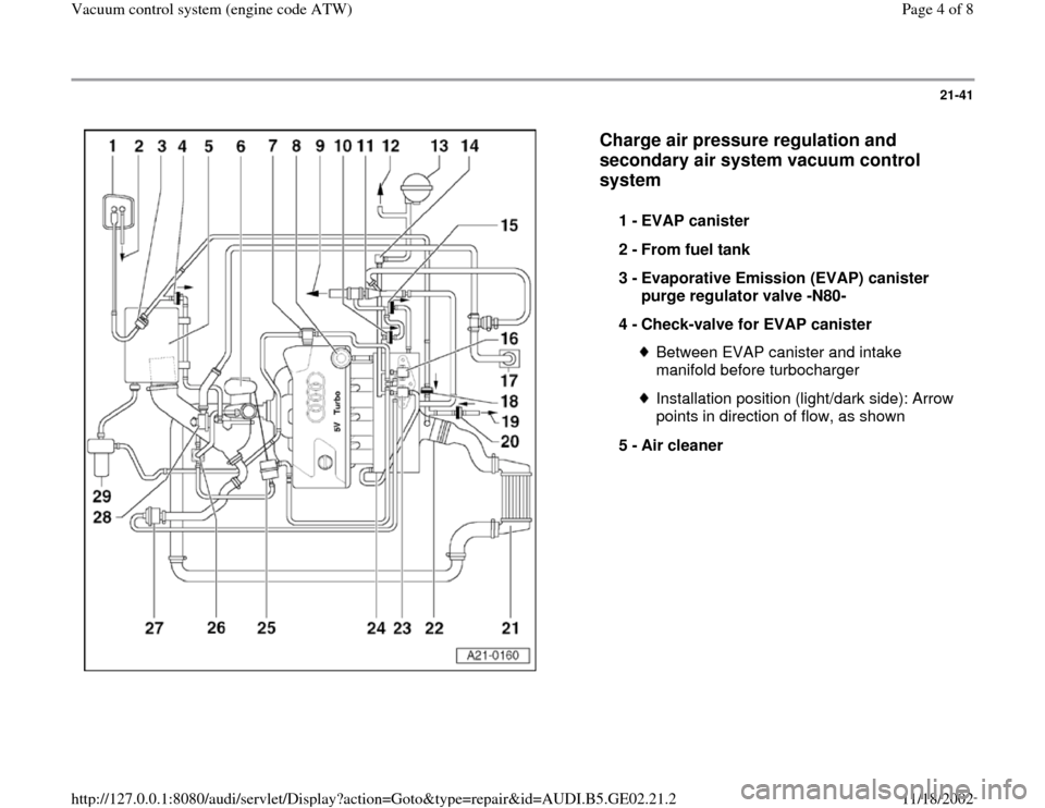 AUDI A3 1997 8L / 1.G AEB ATW Engines Vacuum Control System Workshop Manual, Page 4