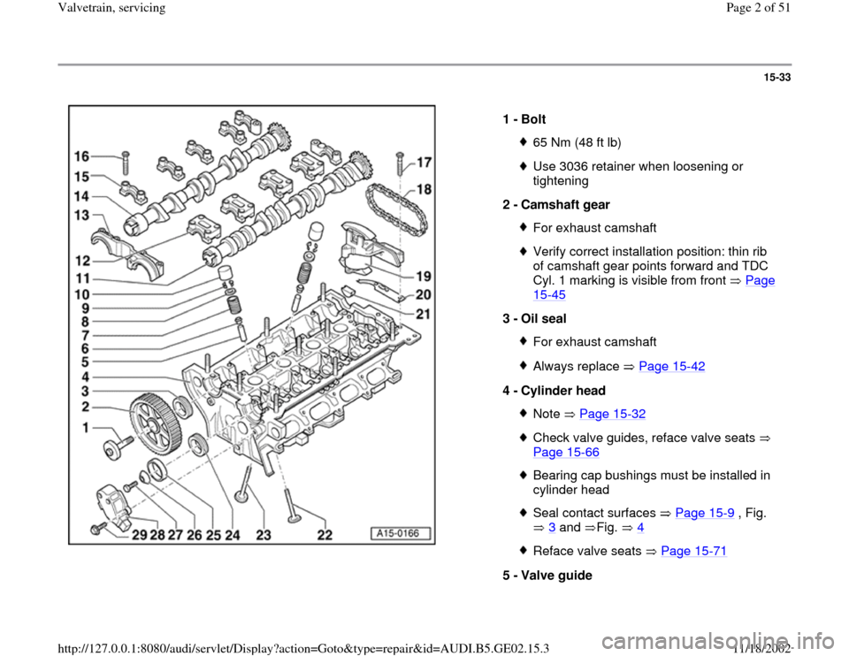 AUDI A4 1996 B5 / 1.G AEB ATW Engines Valvetrain Servicing Workshop Manual, Page 2