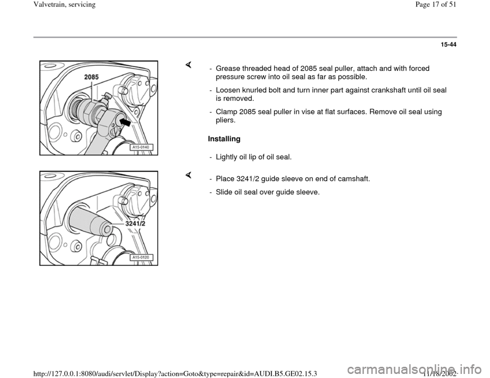AUDI TT 1995 8N / 1.G AEB ATW Engines Valvetrain Servicing Workshop Manual, Page 17