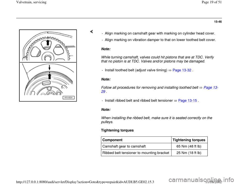 AUDI TT 1995 8N / 1.G AEB ATW Engines Valvetrain Servicing Workshop Manual, Page 19
