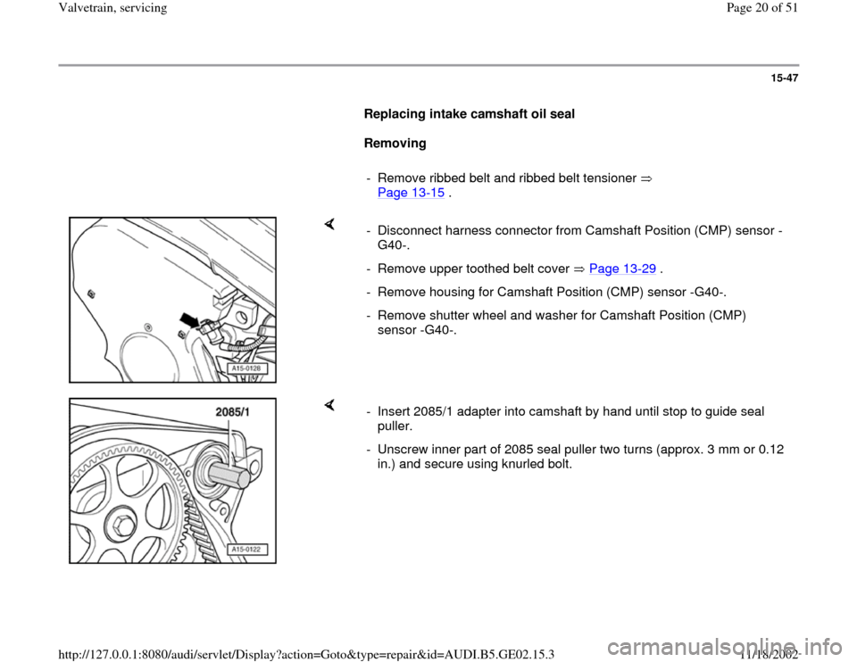 AUDI TT 1995 8N / 1.G AEB ATW Engines Valvetrain Servicing Workshop Manual, Page 20
