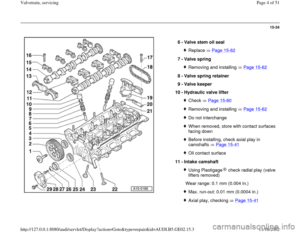 AUDI A4 1996 B5 / 1.G AEB ATW Engines Valvetrain Servicing Workshop Manual, Page 4