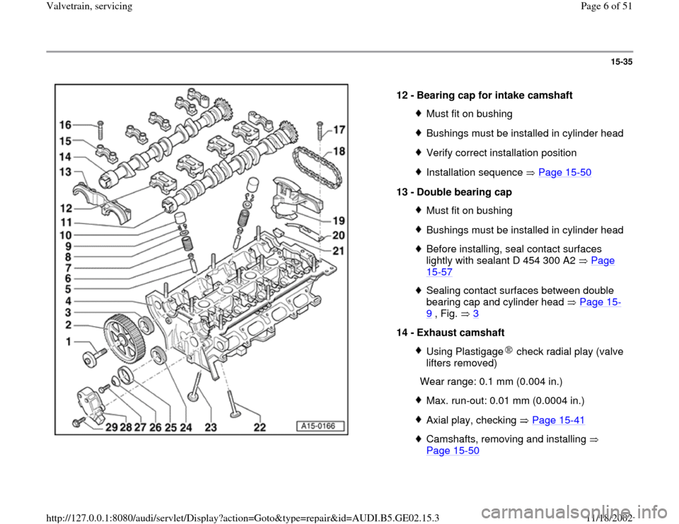 AUDI A4 1996 B5 / 1.G AEB ATW Engines Valvetrain Servicing Workshop Manual, Page 6
