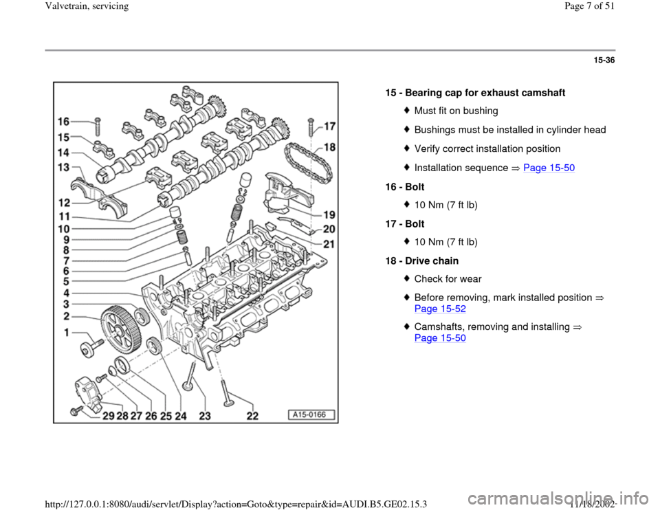 AUDI A4 1996 B5 / 1.G AEB ATW Engines Valvetrain Servicing Workshop Manual, Page 7