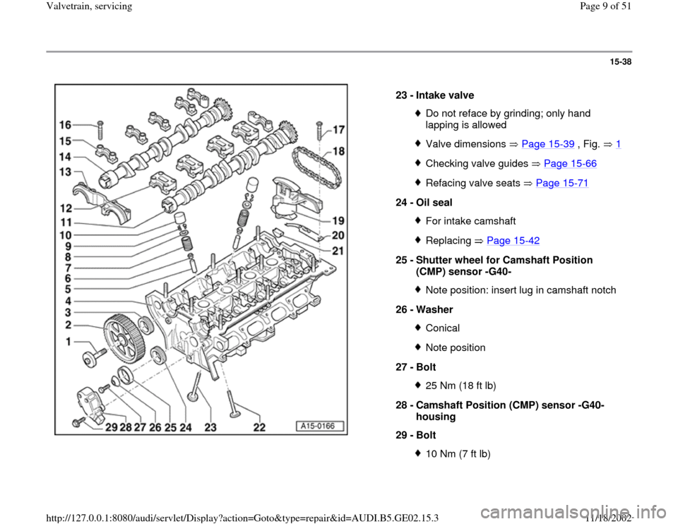 AUDI A4 1996 B5 / 1.G AEB ATW Engines Valvetrain Servicing Workshop Manual, Page 9
