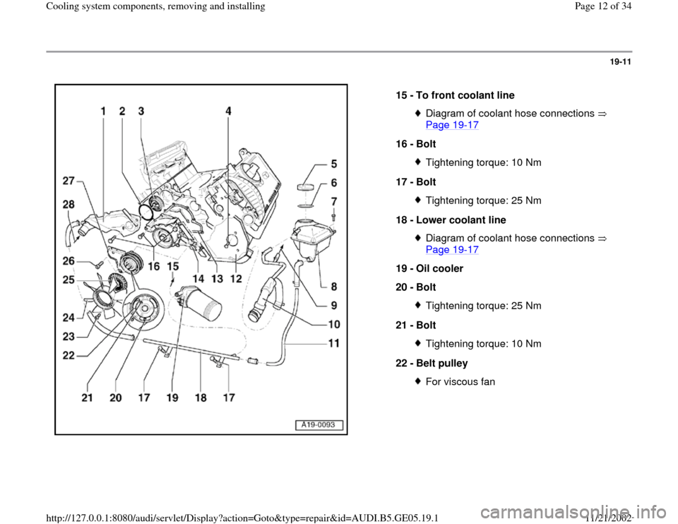 AUDI A4 1998 B5 / 1.G APB Engine Cooling System Components, Page 12