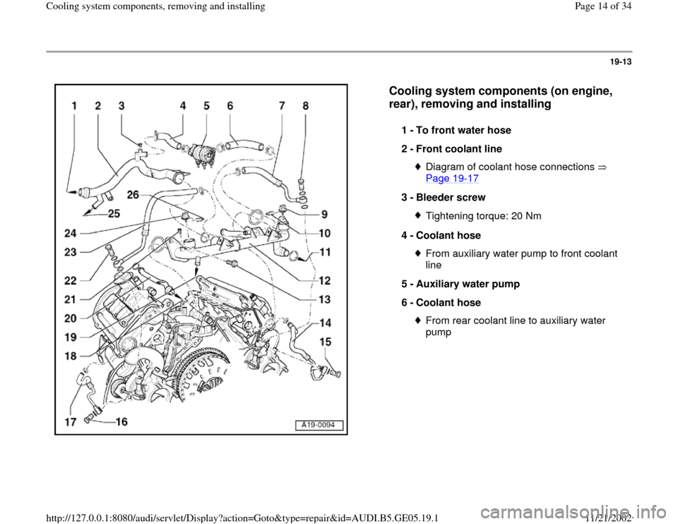 AUDI A4 1998 B5 / 1.G APB Engine Cooling System Components, Page 14