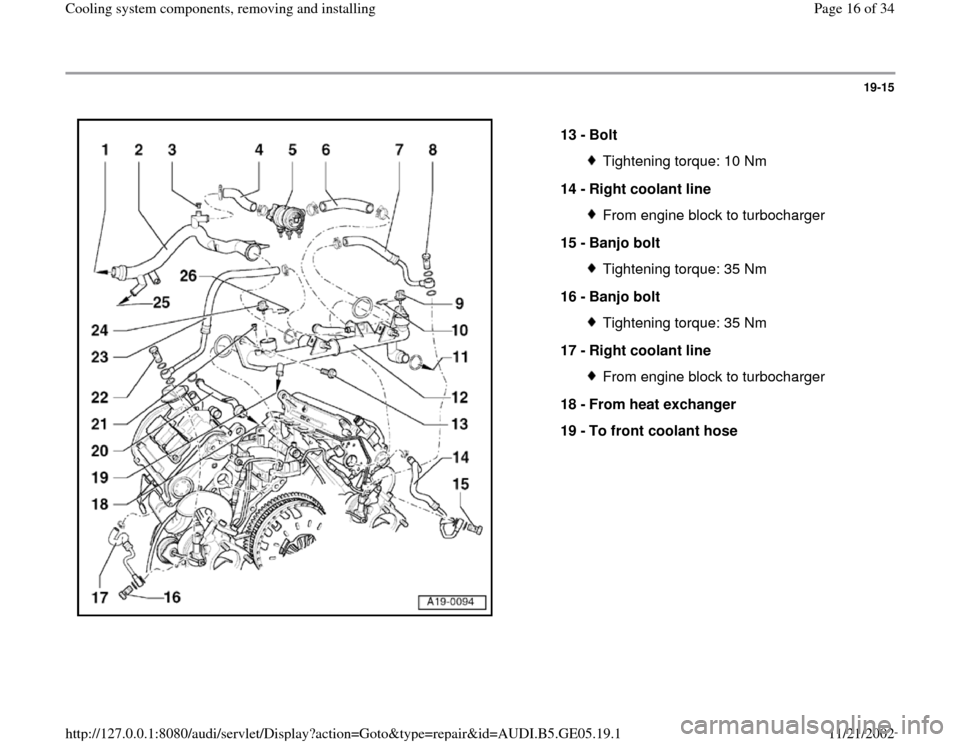 AUDI A4 1998 B5 / 1.G APB Engine Cooling System Components, Page 16