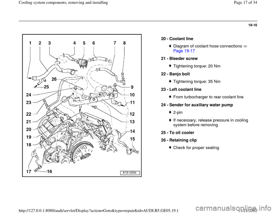 AUDI A4 1998 B5 / 1.G APB Engine Cooling System Components, Page 17
