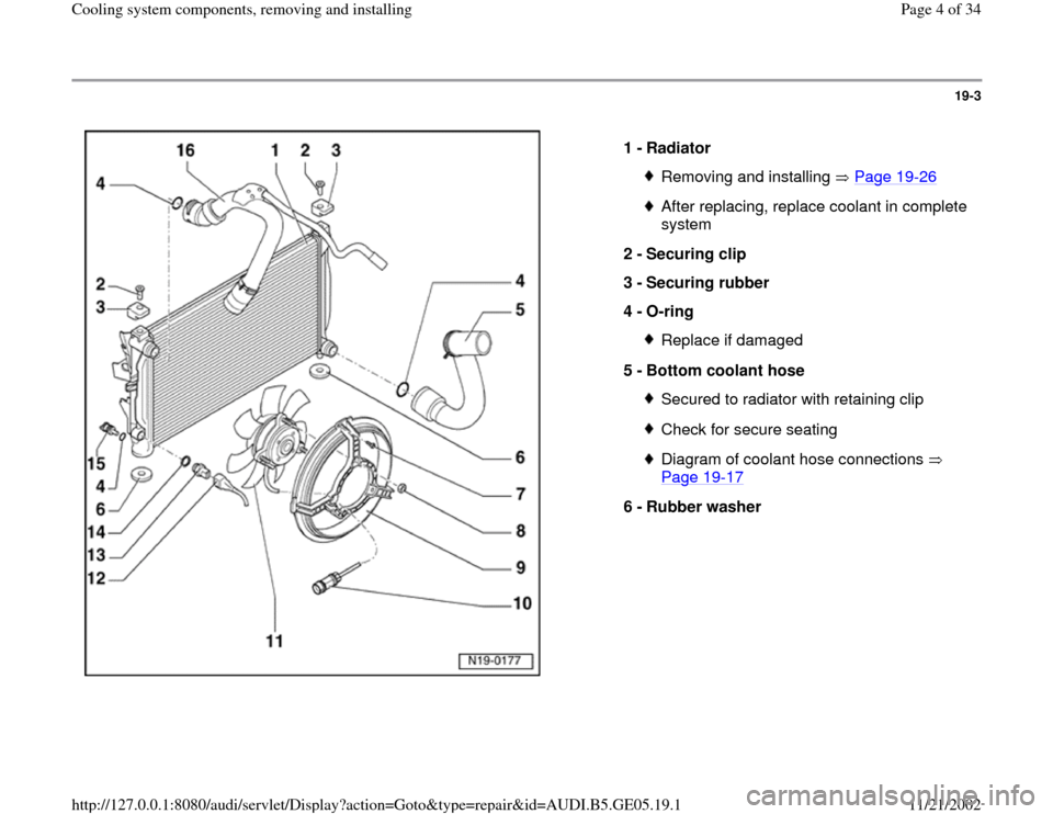 AUDI A4 2000 B5 / 1.G APB Engine Cooling System Components, Page 4