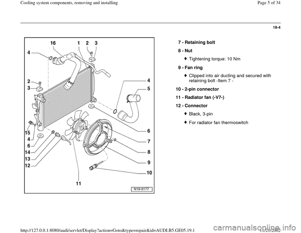 AUDI A4 2000 B5 / 1.G APB Engine Cooling System Components, Page 5