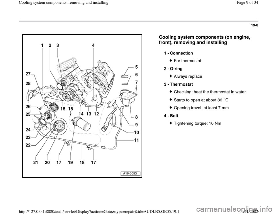 AUDI A4 2000 B5 / 1.G APB Engine Cooling System Components, Page 9
