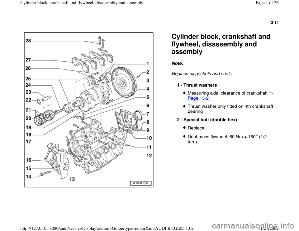 AUDI A4 1995 B5 / 1.G APB Engine Cylinder Block Crankshaft And Flywheel Assembly Manual, Page 1