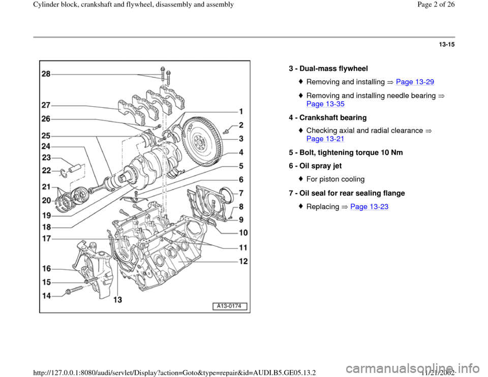 AUDI A4 1995 B5 / 1.G APB Engine Cylinder Block Crankshaft And Flywheel Assembly Manual, Page 2