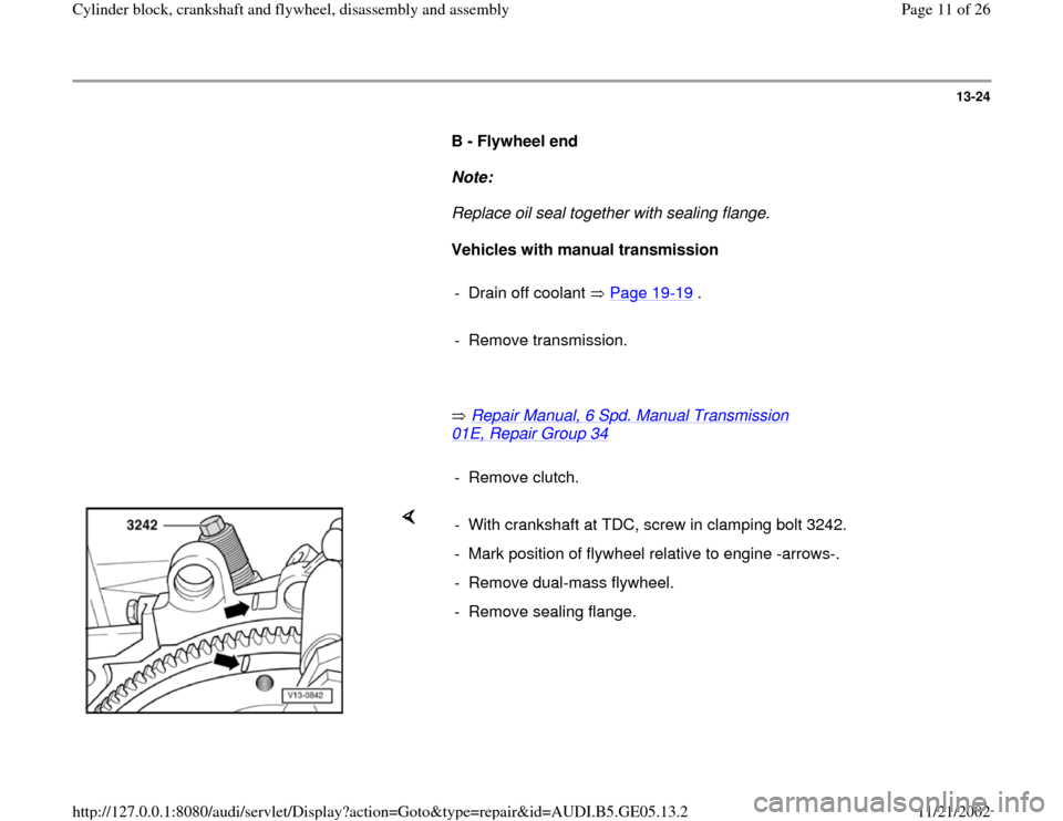 AUDI A4 1999 B5 / 1.G APB Engine Cylinder Block Crankshaft And Flywheel Assembly Manual, Page 11