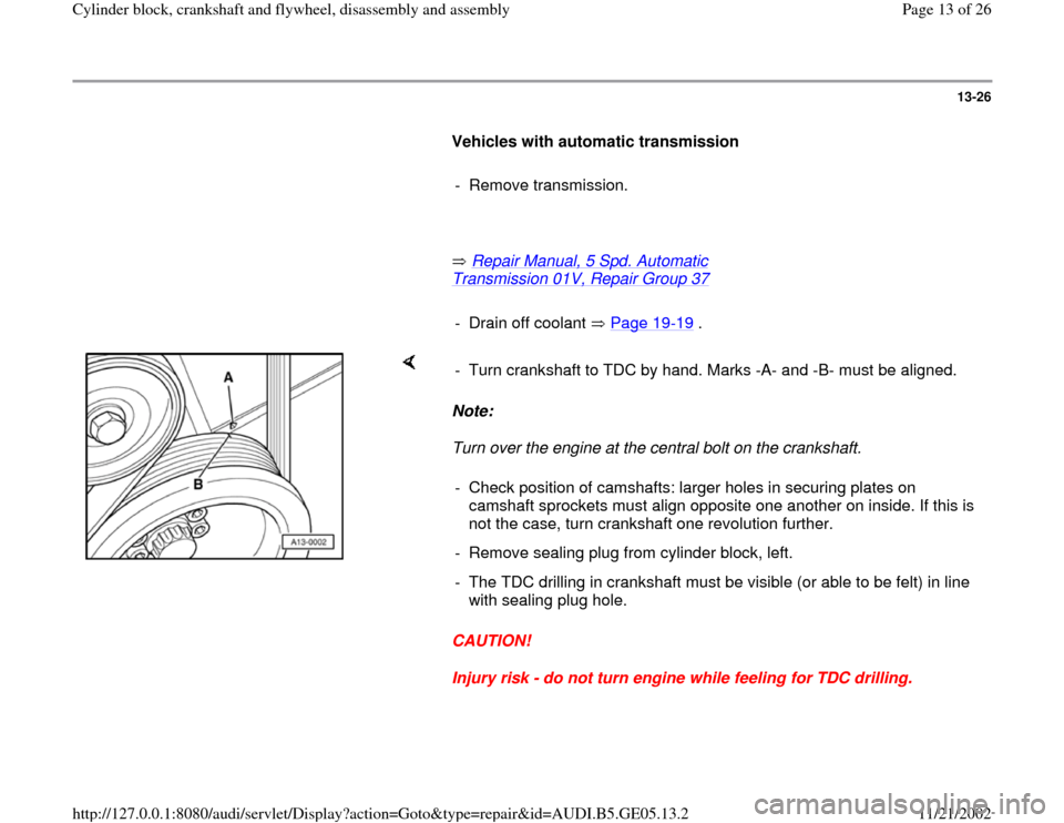 AUDI A4 1999 B5 / 1.G APB Engine Cylinder Block Crankshaft And Flywheel Assembly Manual, Page 13