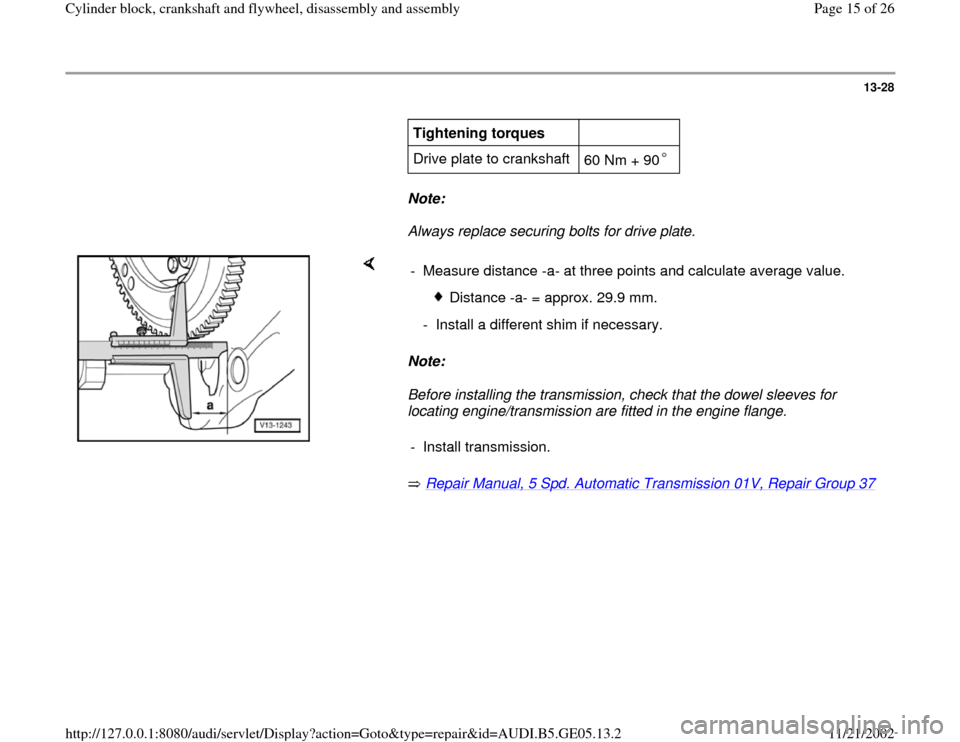 AUDI A4 1999 B5 / 1.G APB Engine Cylinder Block Crankshaft And Flywheel Assembly Manual, Page 15