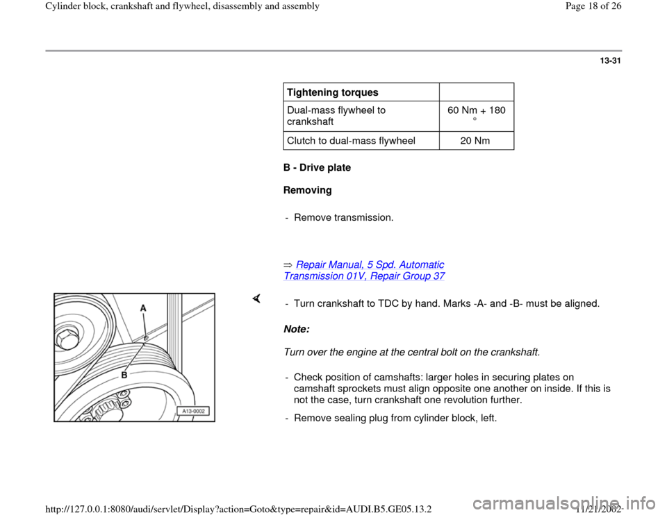 AUDI A4 1999 B5 / 1.G APB Engine Cylinder Block Crankshaft And Flywheel Assembly Manual, Page 18