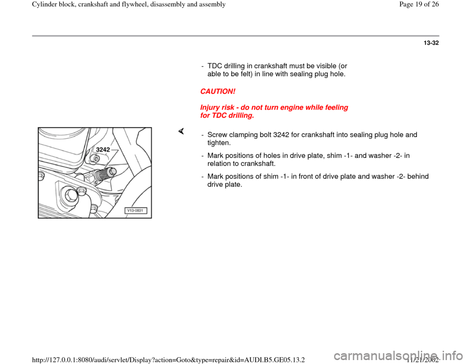 AUDI A4 1999 B5 / 1.G APB Engine Cylinder Block Crankshaft And Flywheel Assembly Manual, Page 19