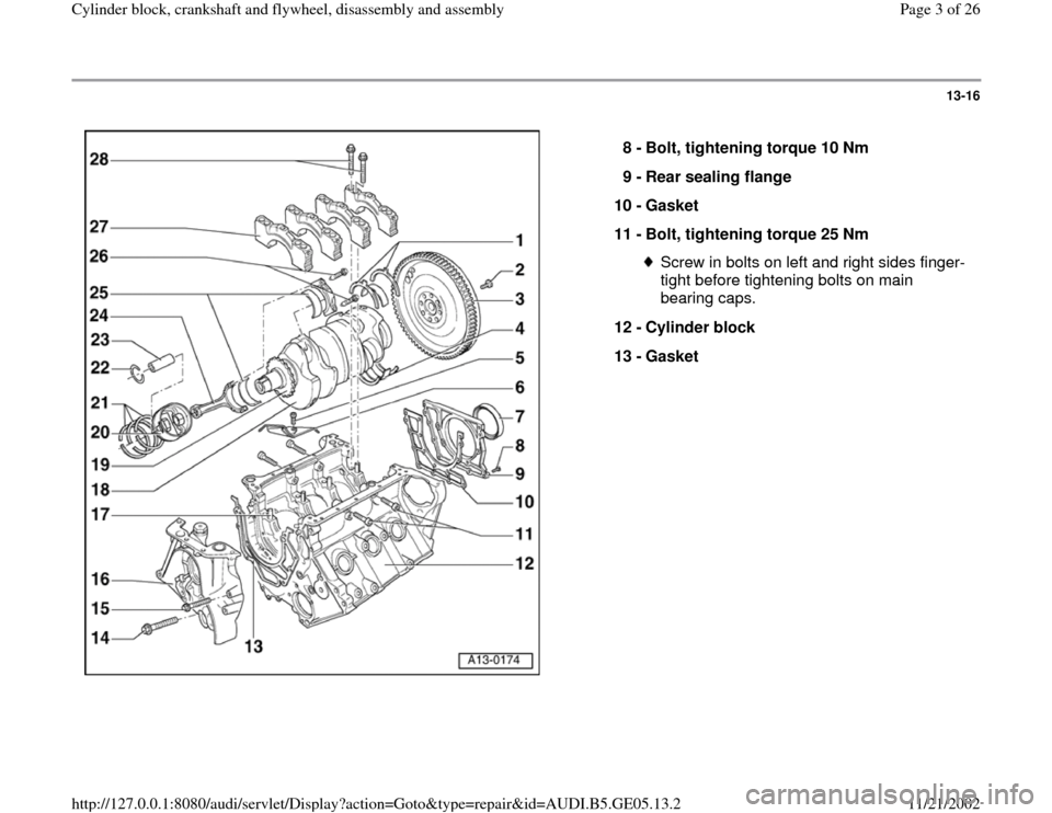 AUDI A4 1995 B5 / 1.G APB Engine Cylinder Block Crankshaft And Flywheel Assembly Manual, Page 3