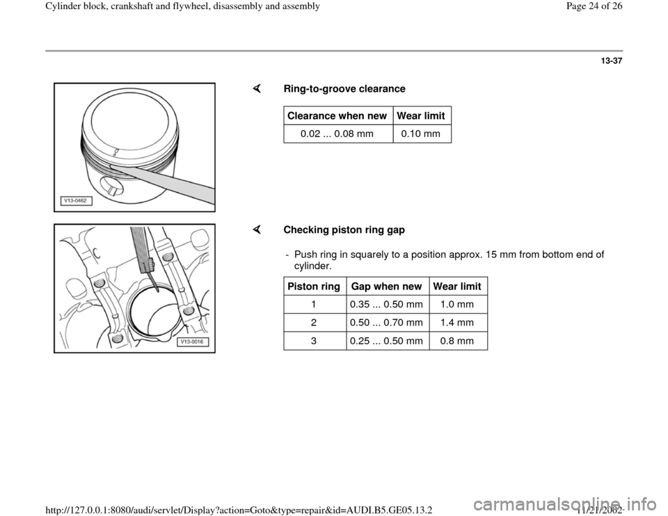AUDI A4 1999 B5 / 1.G APB Engine Cylinder Block Crankshaft And Flywheel Assembly Manual, Page 24