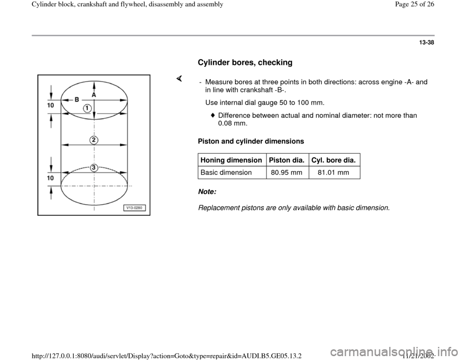 AUDI A4 1999 B5 / 1.G APB Engine Cylinder Block Crankshaft And Flywheel Assembly Manual, Page 25