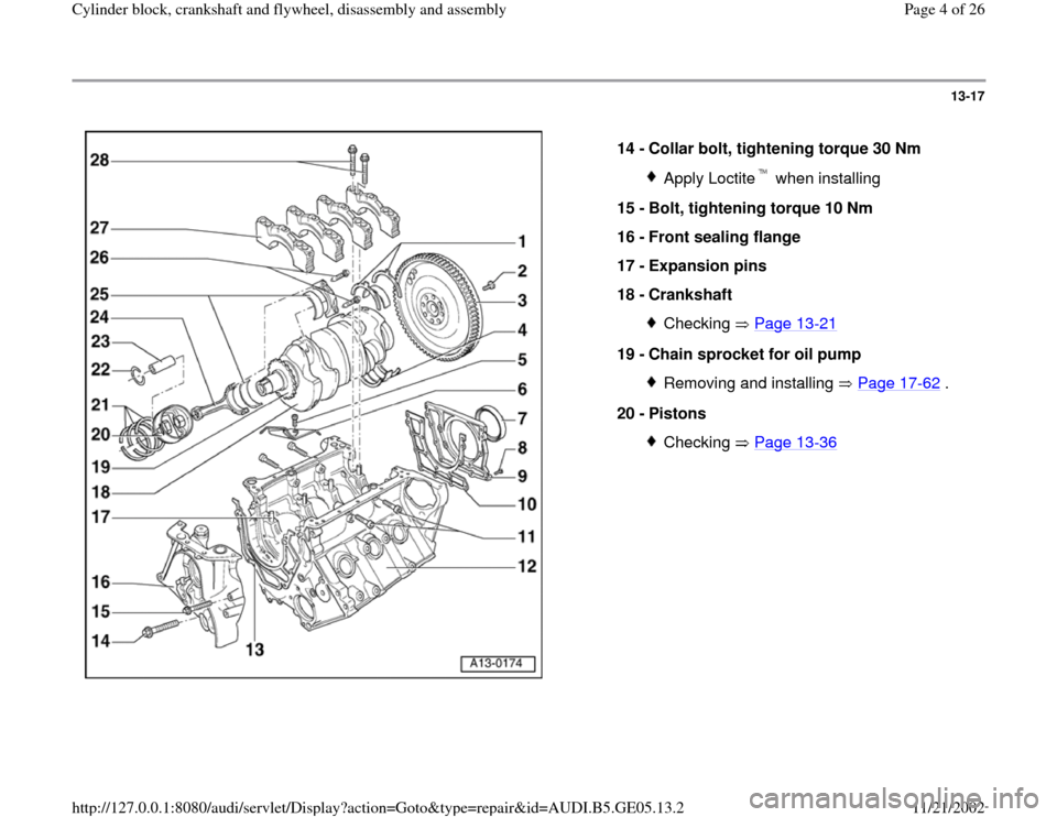 AUDI A4 1995 B5 / 1.G APB Engine Cylinder Block Crankshaft And Flywheel Assembly Manual, Page 4