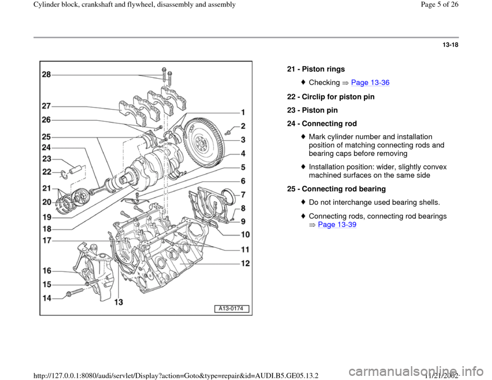 AUDI A4 1995 B5 / 1.G APB Engine Cylinder Block Crankshaft And Flywheel Assembly Manual, Page 5