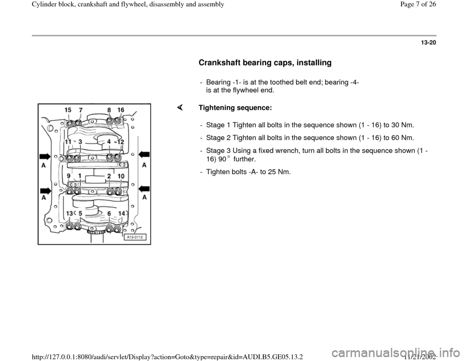 AUDI A4 1995 B5 / 1.G APB Engine Cylinder Block Crankshaft And Flywheel Assembly Manual, Page 7
