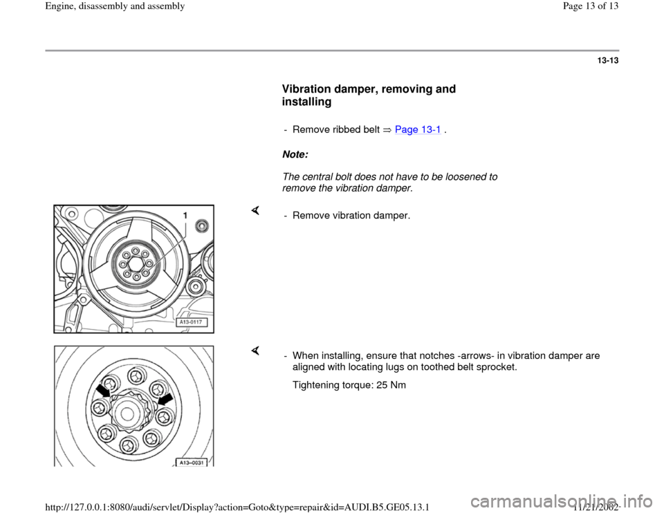 AUDI A4 2000 B5 / 1.G APB Engine Assembly Workshop Manual, Page 13