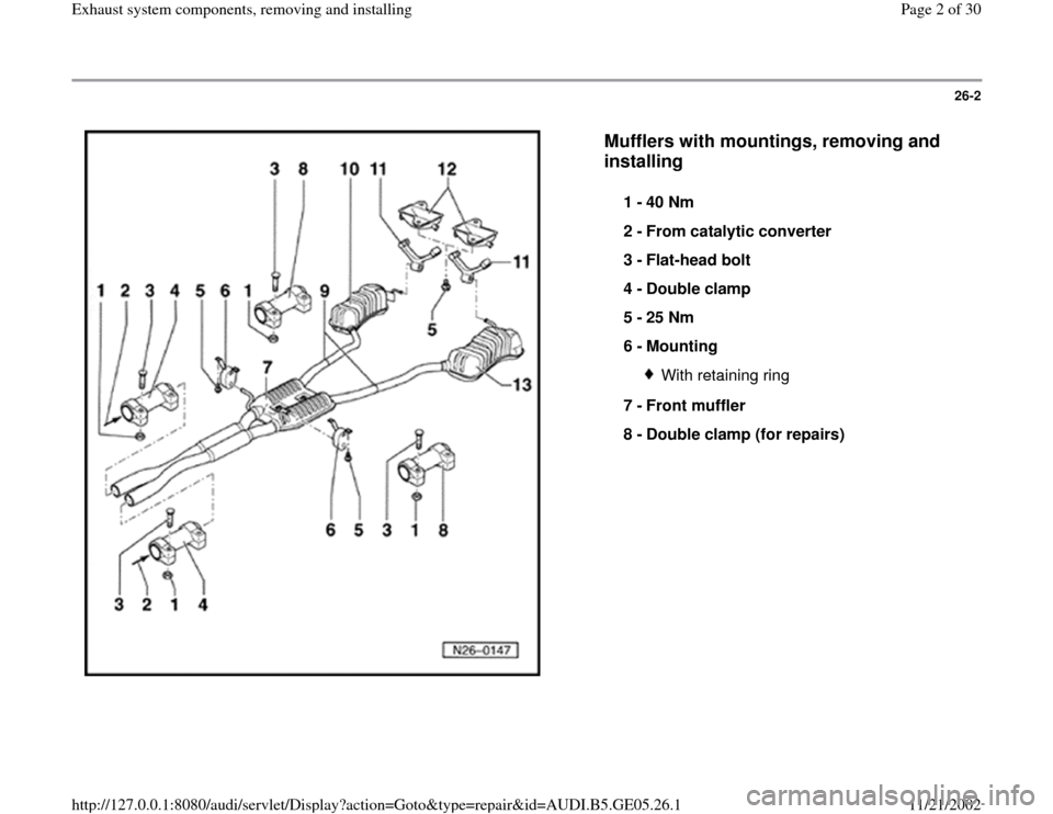 AUDI A4 1997 B5 / 1.G APB Engine Exhaust System Components Workshop Manual, Page 2