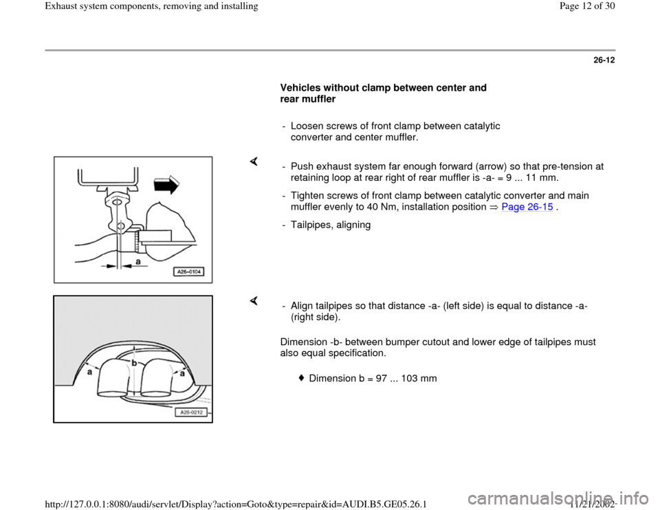AUDI A4 1998 B5 / 1.G APB Engine Exhaust System Components Workshop Manual, Page 12