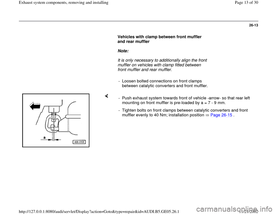 AUDI A4 1998 B5 / 1.G APB Engine Exhaust System Components Workshop Manual, Page 13