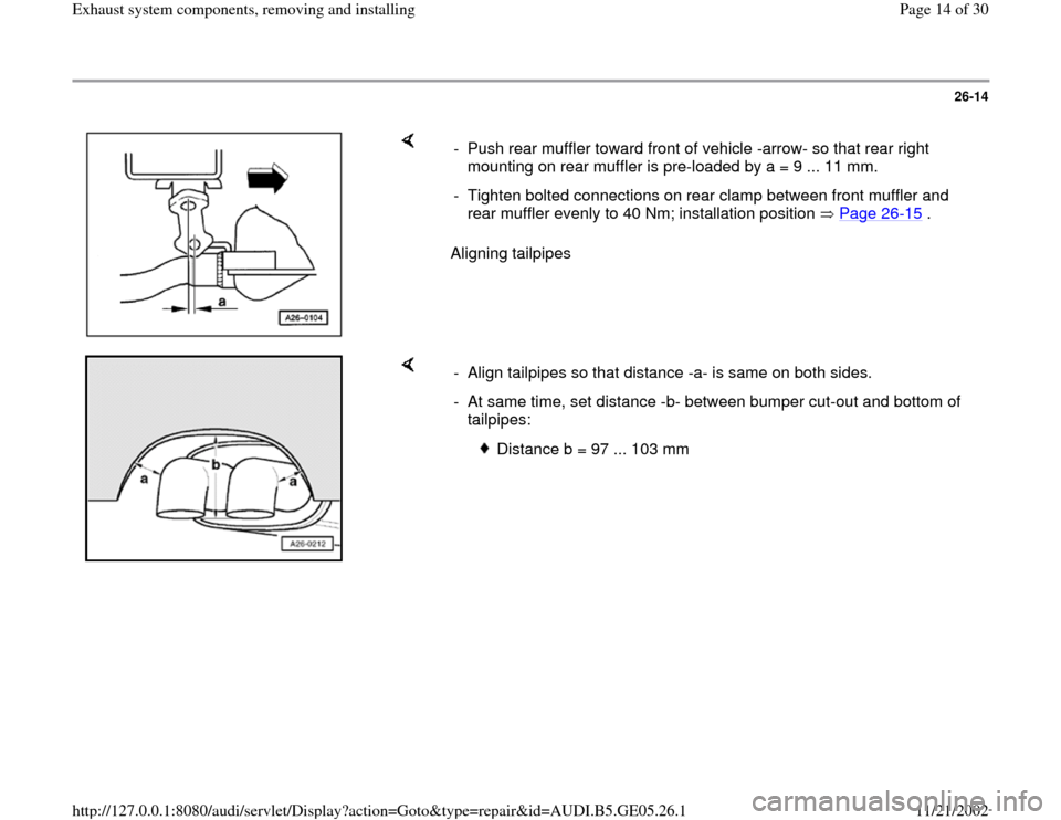 AUDI A4 1998 B5 / 1.G APB Engine Exhaust System Components Workshop Manual, Page 14