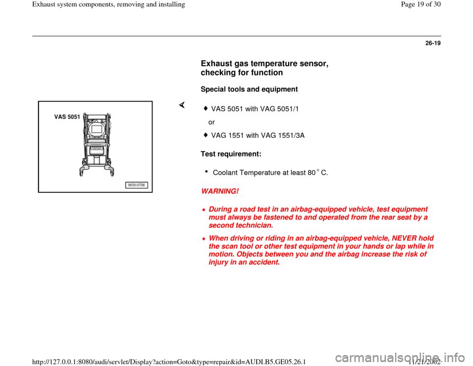 AUDI A4 1998 B5 / 1.G APB Engine Exhaust System Components Workshop Manual, Page 19