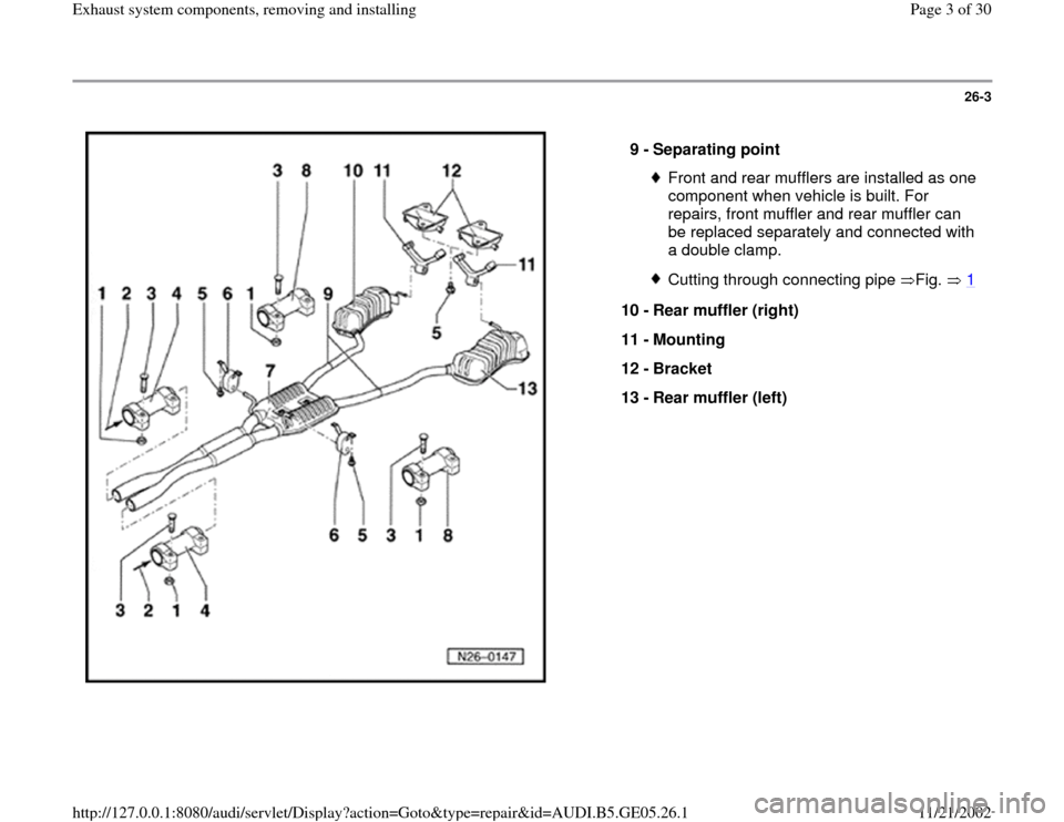 AUDI A4 1997 B5 / 1.G APB Engine Exhaust System Components Workshop Manual, Page 3