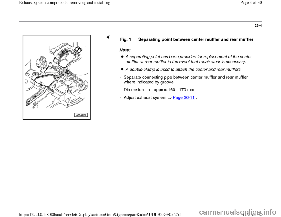 AUDI A4 1997 B5 / 1.G APB Engine Exhaust System Components Workshop Manual, Page 4