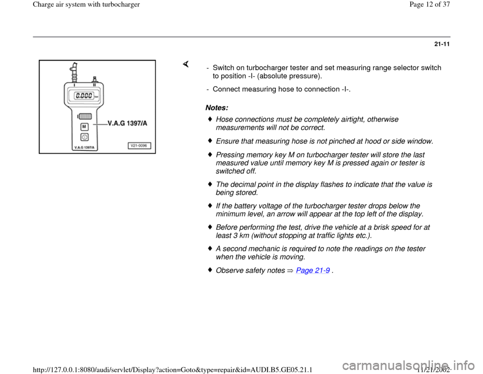 AUDI A4 1998 B5 / 1.G APB Engine Charge Air System With Turbocharger Workshop Manual, Page 12