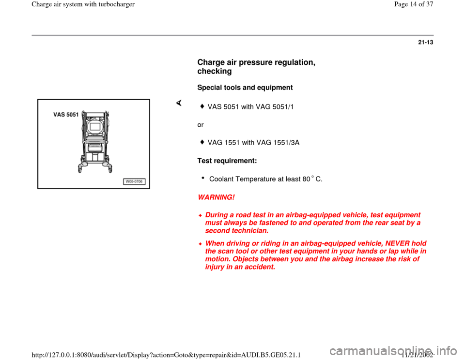 AUDI A4 1998 B5 / 1.G APB Engine Charge Air System With Turbocharger Workshop Manual, Page 14