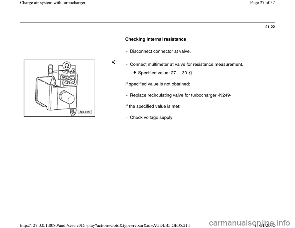 AUDI A4 1996 B5 / 1.G APB Engine Charge Air System With Turbocharger Workshop Manual, Page 27