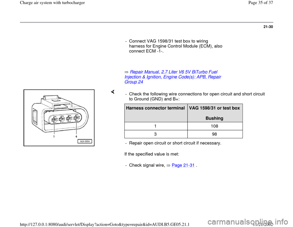 AUDI A4 1999 B5 / 1.G APB Engine Charge Air System With Turbocharger Workshop Manual, Page 35