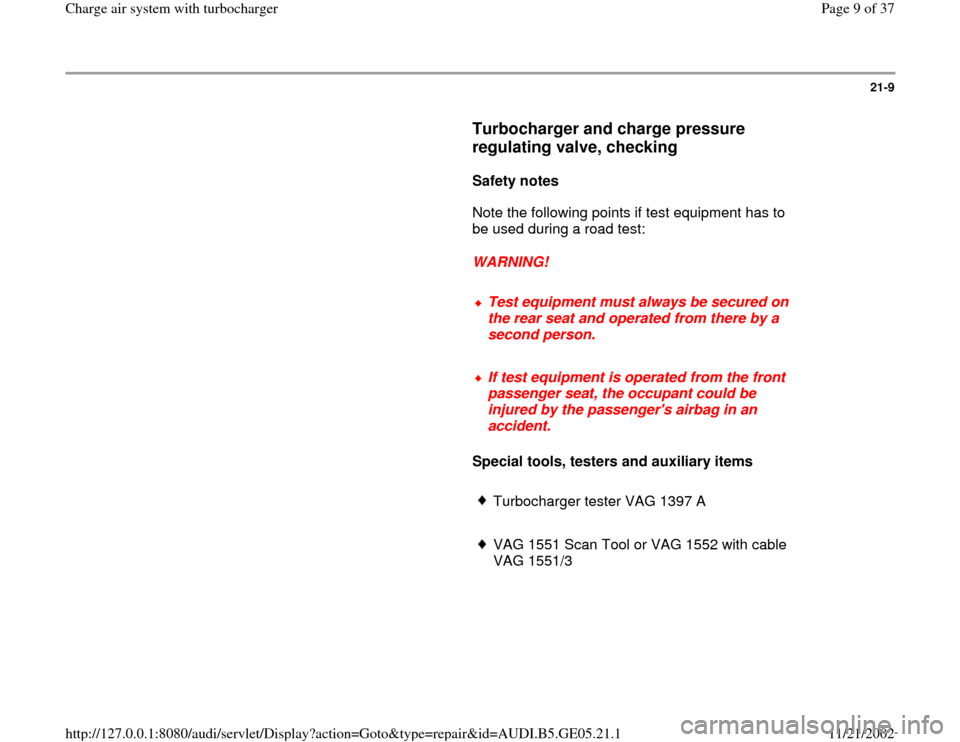 AUDI A4 1998 B5 / 1.G APB Engine Charge Air System With Turbocharger Workshop Manual, Page 9